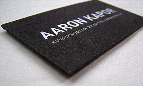 Business card of Aaron Kapor.