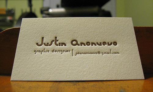 Justin Anonuevo Letterpress Card