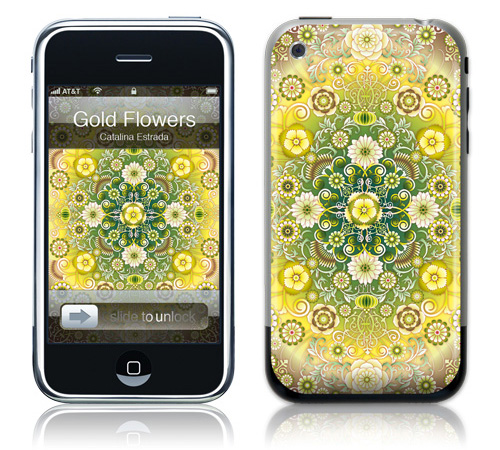 Gold Flowers - Skin for your iPhone 3G - Created by Catalina Estrada
