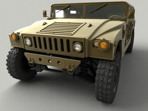 High detailed model of a Military Hummer with full exterior and fully textured