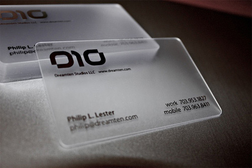 Creative business cards uses of various shapes and materials dreamten studios plastic business cards colourmoves