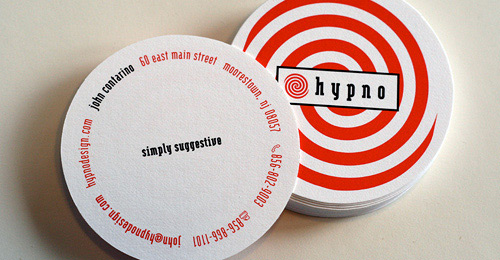 Creative business cards uses of various shapes and materials hypno design circle business card reheart Images