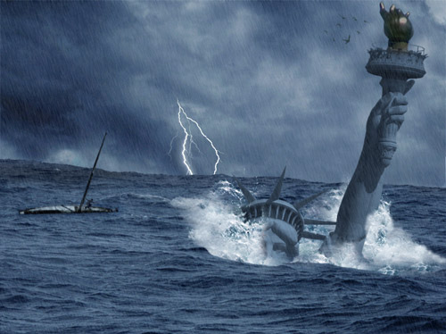 Create a Catastrophic Tsunami, Impacting the Statue of Liberty