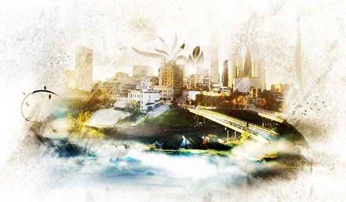 "Design an Awesome Watercolour Style ""City on Cloud"" Artwork in Photoshop"