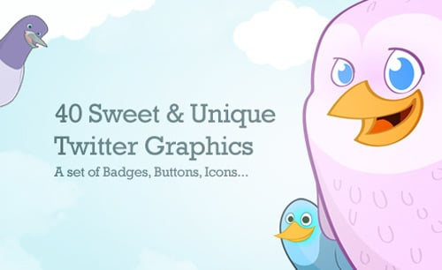 40 Cute Free Twitter Graphics: Badges, Icons & Buttons