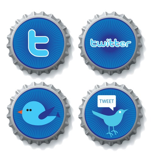 Free Twitter Bottle Cap Icons