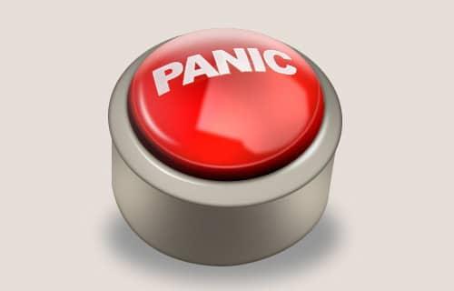 panic button logo icon in photoshop.