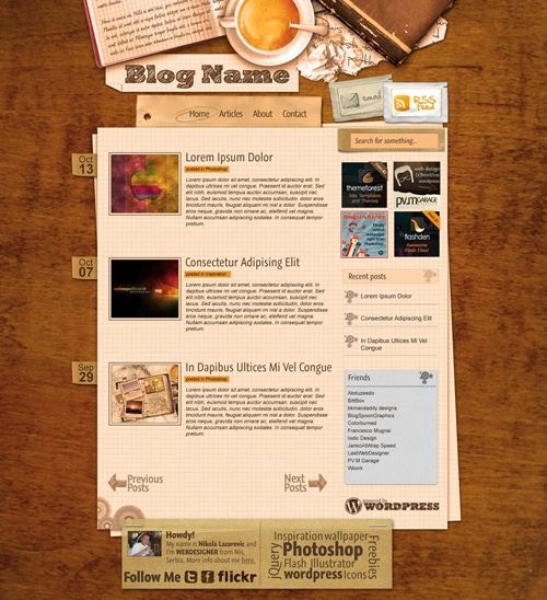Caffe-Break Themed Blog Layout Photoshop Tutorial