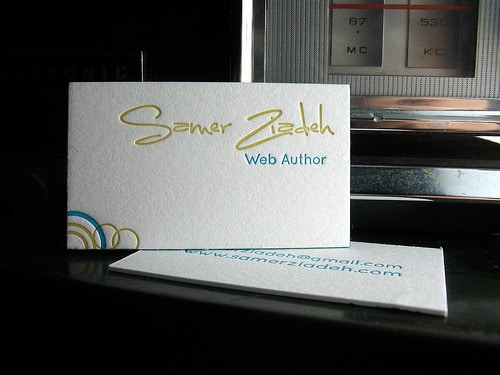 letterpress business card - samer ziadeh