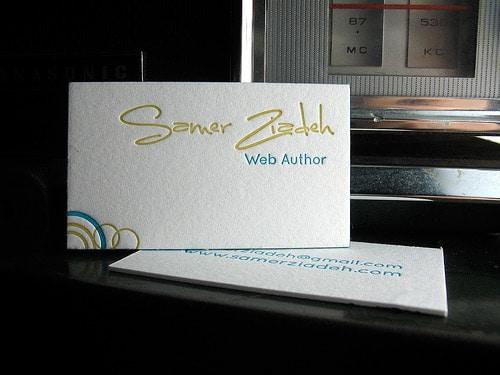 letterpress business card - samer ziadeh