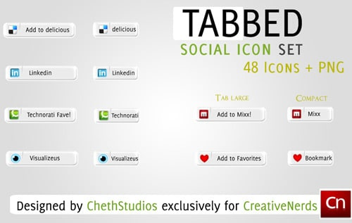 Tabbed Social Media Icon Set