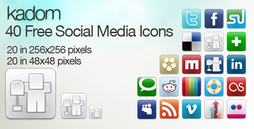 Kadom Clean Social Icons Set : 40 Free Social-Media Icons