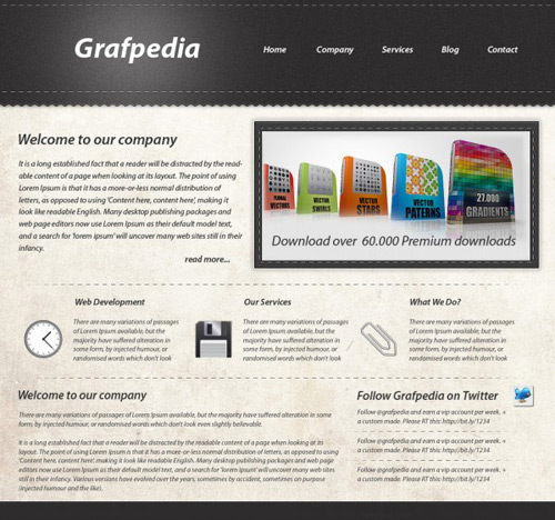 Create a gritty website layout