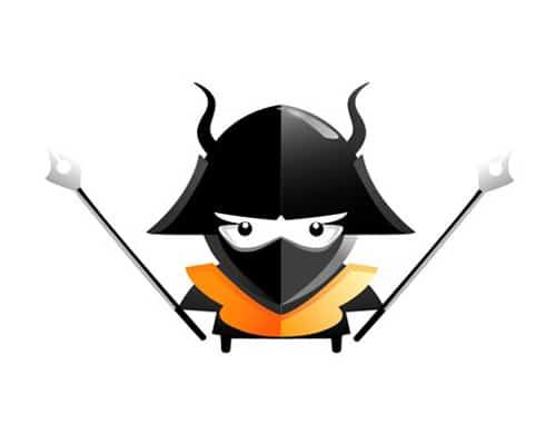 Draw an angry little samurai in Illustrator