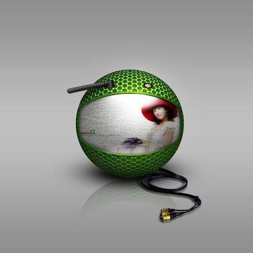 Design a surreal, spherical TV set in Photoshop