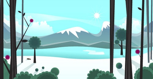 Smoothly Shift Winter Colors, While Creating an Icy, Vector Landscape