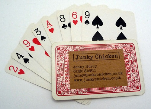 Junky Chicken playing card business cards