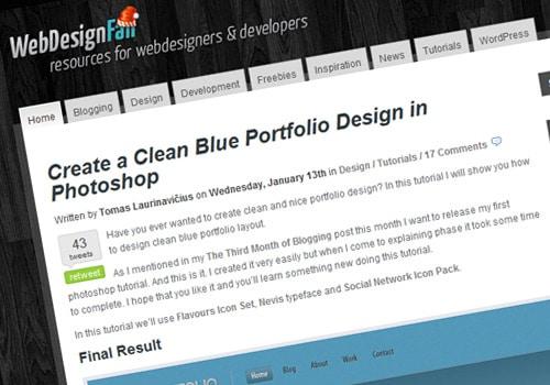 Create a Clean Blue Portfolio Design in Photoshop