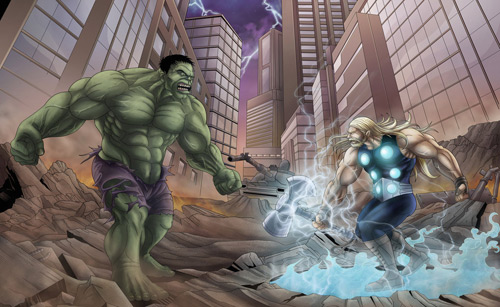 HULK THOR PINUP by VdVector