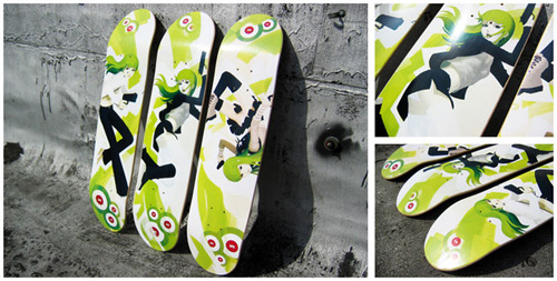 Lichen no.7, no.8, no.9 (skate decks) by Tavish