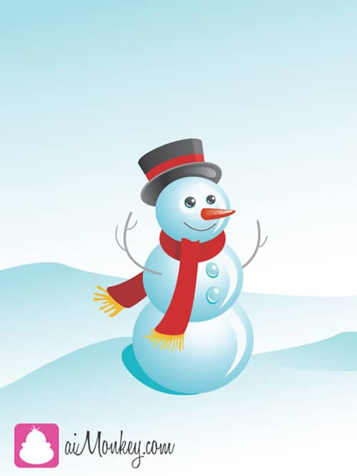 Draw a funny snowman in Illustrator