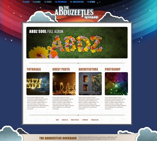 The Abduzeetles Rockband Website in Fireworks