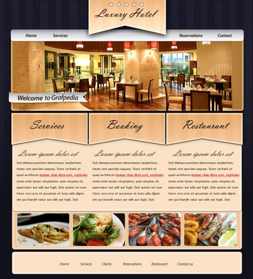 Design an elegant rustic layout for hotels or restaurants