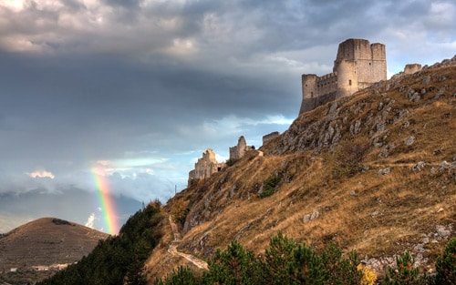 Rocca Calascio, in Abruzzo, Italy. Rainbow and the Castle By Giovanni Di Gregorio