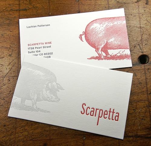 Letterpress Business Card: Scarpetta