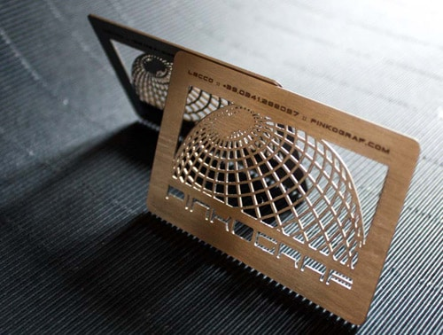 Metal business cards, realized on steinless steel. Incision/engraving with laser engraving machine. by pinkograf.com