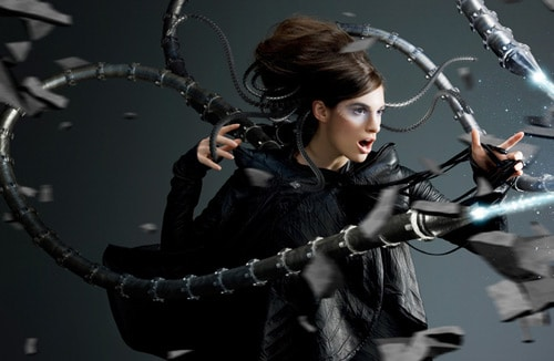 Robot - Octopus (a real fashion model with 3D FX), Dominique Fraser (3D)