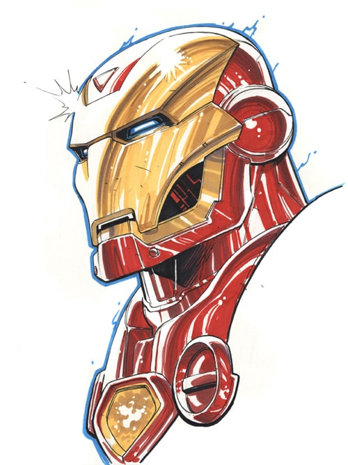 Iron Man Marker Sketch by david-nakayama