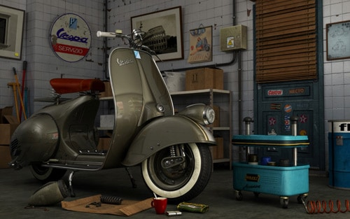 scooter, vespa in 3dsmax, mental ray, photoshop by Jaime Otegui