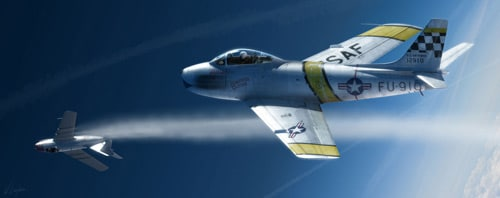 F-86 sabre fighter plane in modo, lightwave, photoshop by Wiek Luijken