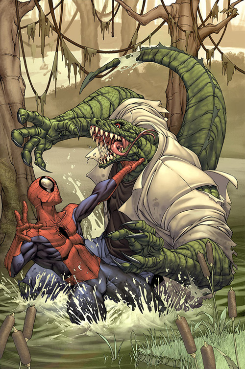 Spider-man cover- The Lizard by `diablo2003