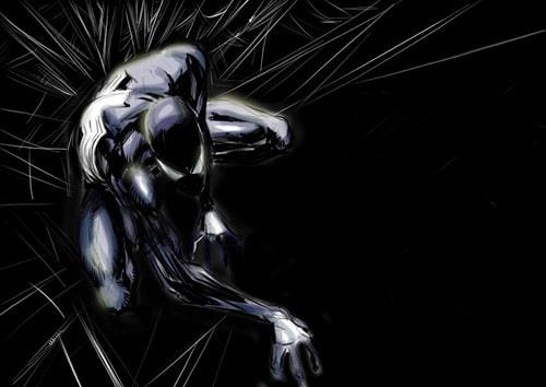 Spider man in black sketch by *Cinar