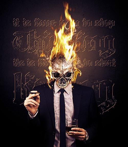 Make a Vivid Flaming Skull Conceptual Composition