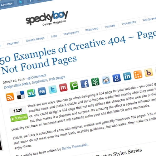 50 Examples of Creative 404 – Page Not Found Pages