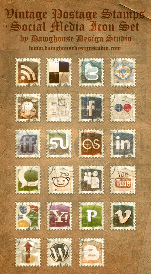 Vintage Stamp Social Media Icon Pack | Tutorial9
