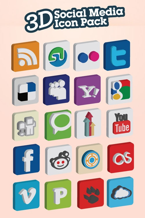3D Social Media Icon Pack | 20 Icon Set | Tutorial9
