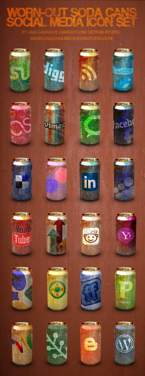 Free Icons: Worn-Out Soda Cans Social Media Icon Pack