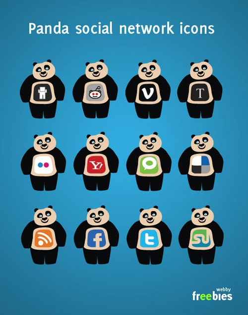 Free Vector Icons: Panda Social Network Icons