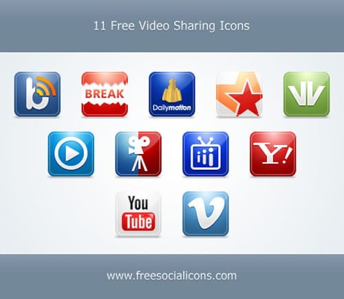 11 Free Video Sharing Icons