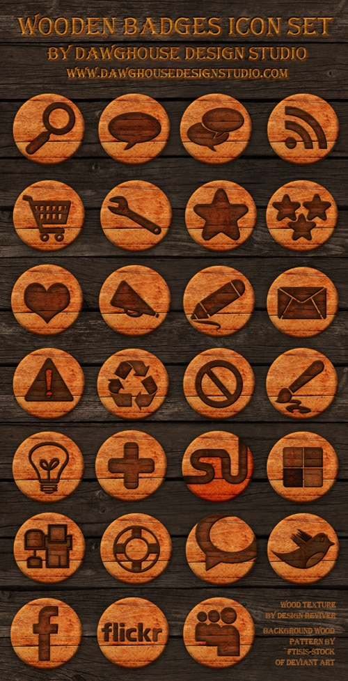 Free Icons: 27 Wooden Badges Icon Pack
