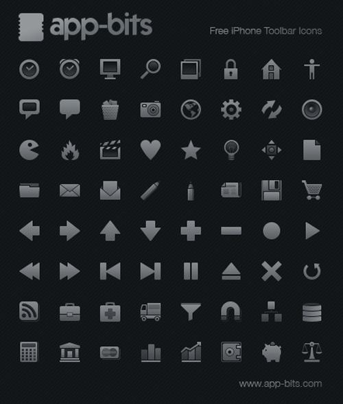 app-bits : iPhone Toolbar Icon Set : iPhone Toolbar Icon Set