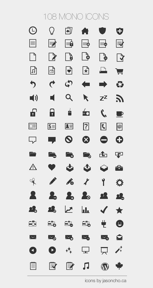 108 Mono Icons: Huge Set of Minimal Icons | Tutorial9