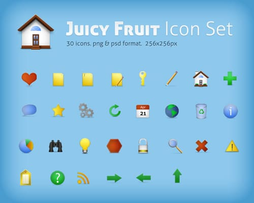 Juicy Fruit icon set. psd included
