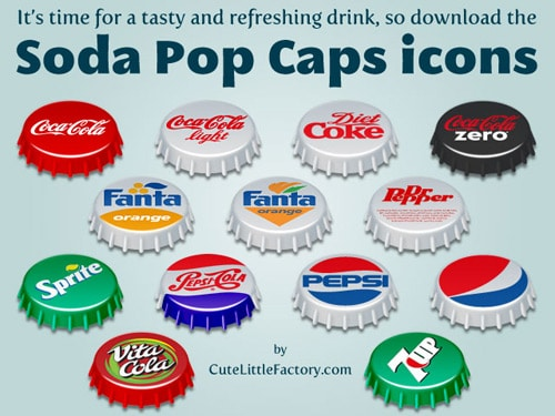 Soda Pop Caps Icons | Cute Little Factory