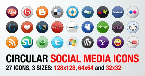 27 Circular Social Media Icons in 3 Sizes | WordPress Resources