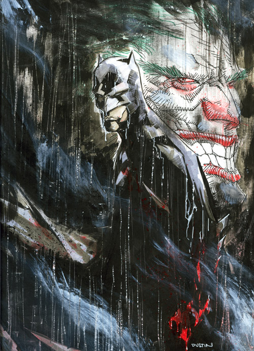 batman and joker in the rain by duss005